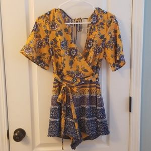Mustard, Navy and Purple Floral Romper